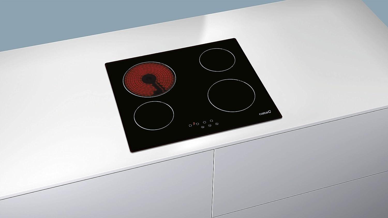 Cata T 604 T 604-Placa Vitrocerámica T604 con 4 Zonas De Cocción, 1800 W, Vidrio y cerámica, Negro