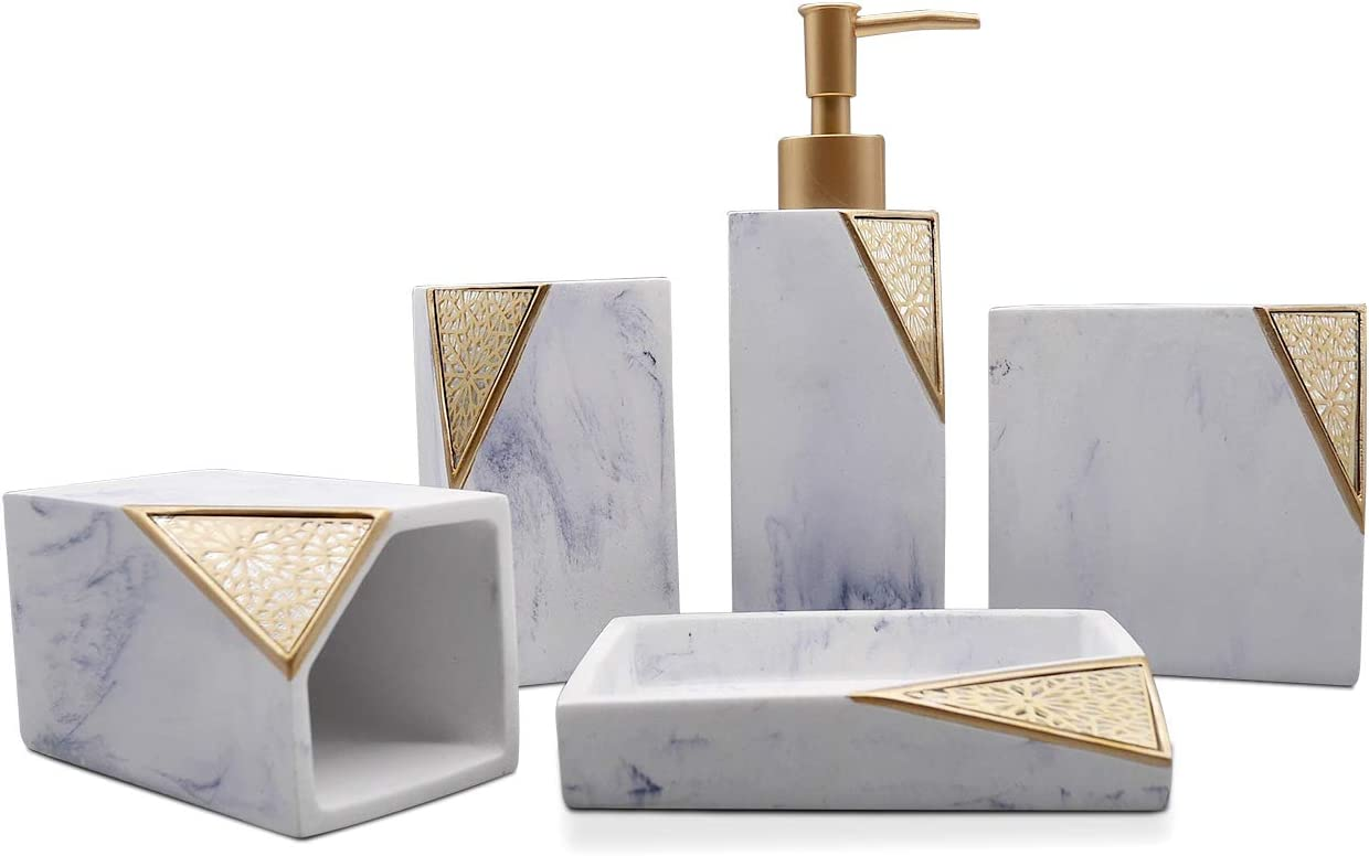 Cozy Villa 5-Piece Bathroom Accessories, Lotion Dispenser, Soap Dish, Toothbrush Holder, Tumblers, White Marble with Gold Design: Home & Kitchen