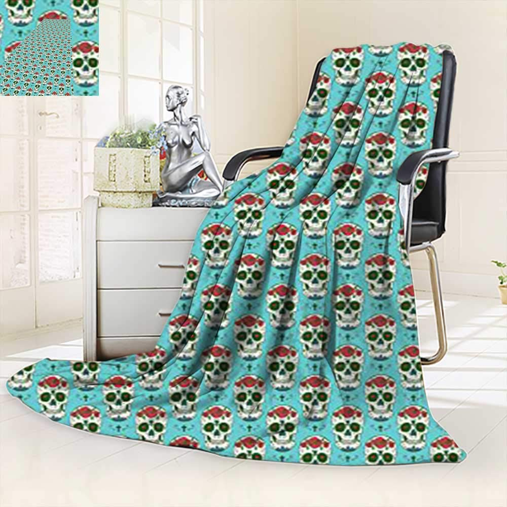 vanfan Heavy Blanket Winter Christian Cross Roses On Skull Pattern Mexican Vintage Style,Silky Soft,Anti-Static,2 Ply Thick Blanket. (90''x108'')