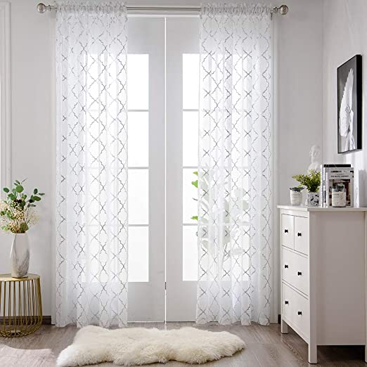 Amazon Com Yjyanjun White And Silver Sheer Curtains 84 Inches Long Rod Pocket Moroccan Shiny Metallic Print Voile For Living Room 2 Panel W52 X L84 Inches Home Kitchen