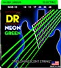 DR Strings NGE-10 Coated Nickel Electric Guitar Strings, Medium  NEON Hi-Def Green Electric 10-46. Super bright colors that will sound clear, bright and musical. NEON's are 100% black light active and will glow under ANY UV light source.