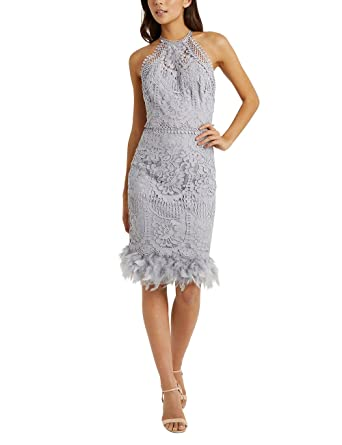 LIPSY Women VIP Lace Embroidered Feather Hem Dress Silver US 0 (UK 4) at Amazon Womens Clothing store: