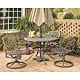 Home Styles 5555-325 Biscayne 5-Piece Outdoor Dining Set, Rust Bronze Finish, 48-Inch For Sale