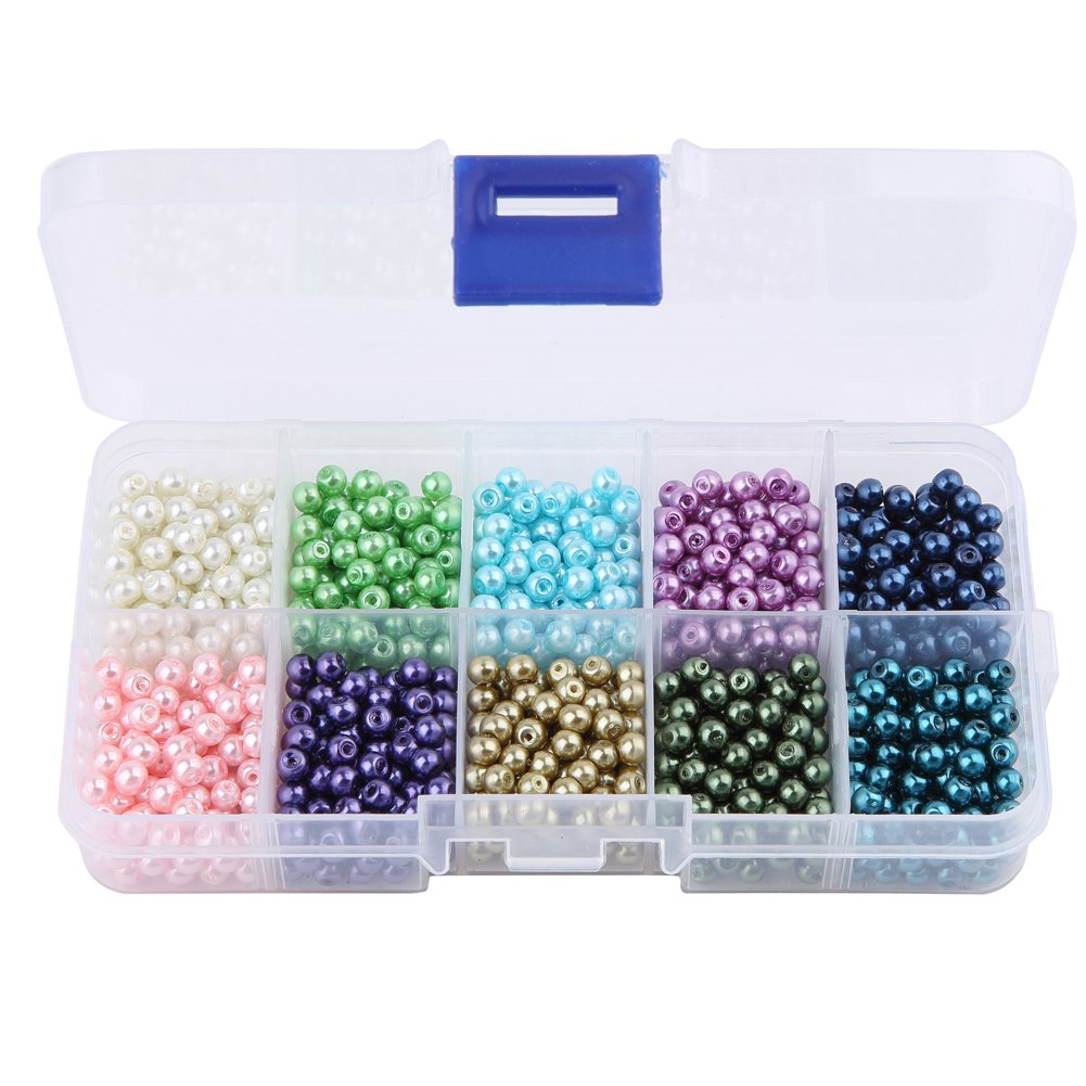HYBEADS 4mm 1000pcs Satin Luster Glass Pearl Round Beads Assortment Mix Lot for Jewelry Making by HYBEADS   B019W3HOQ8