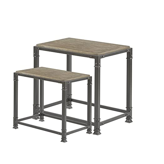 Madison Park FPF17-0057 Cirque Accent Tables – Wood, Iron Side Table – Reclaimed Grey, Mid-Century Modern Style End Tables – 2 Piece Set Nesting Table Small Tables For Living Room