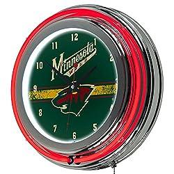 Trademark Gameroom NHL Minnesota Wild Chrome Double Rung Neon Clock