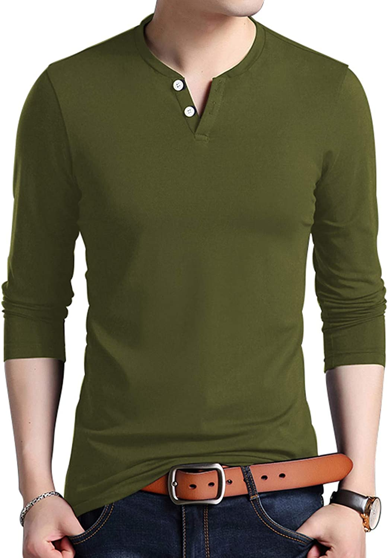 KUYIGO Mens Slim Fit Long Sleeve Beefy Fashion Casual Henley T Shirts of Cotton Shirts