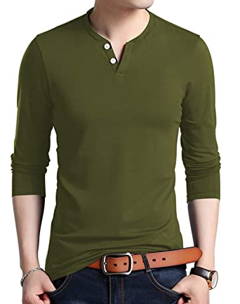 8a75808ac18 KUYIGO Men s Casual Slim Fit Long Sleeve Henley T-Shirts Cotton Shirts  (Small