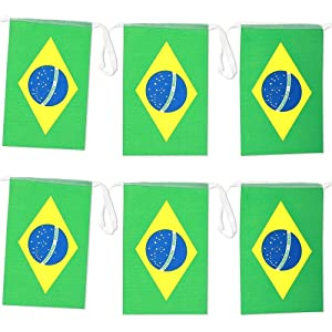 Juvale Brazil Flag Banners (100 ft, 80 Flags)