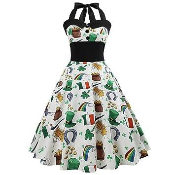 Vestido vintage para mujer Saihui Retro de los años 50 con cuello halter, estampado floral
