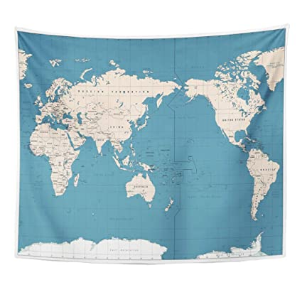 Amazon Com Emvency Decor Wall Tapestry Pacific Centered World Map