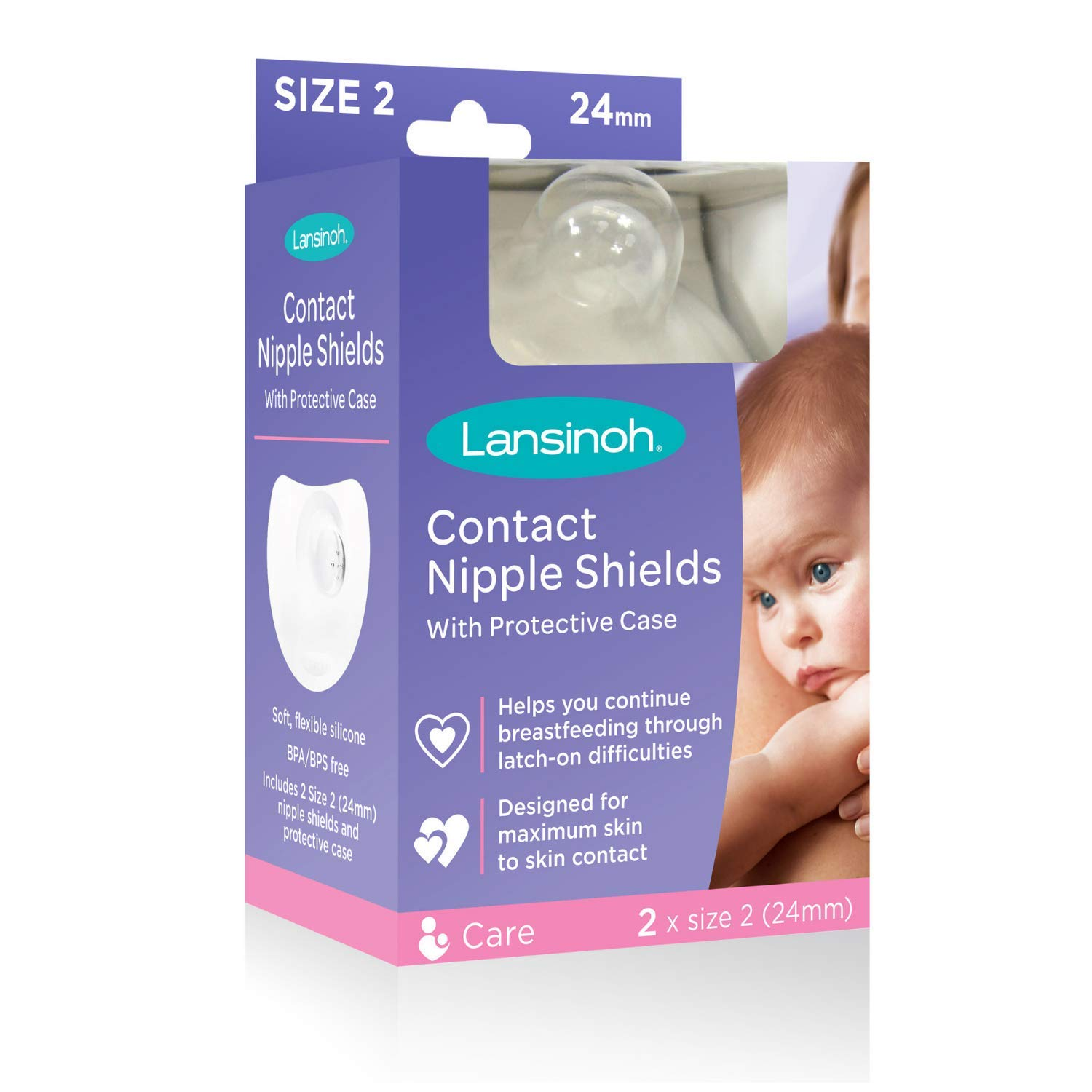 Contact Shields Breastfeeding Latch Flat Made Nipple Shield 24mm Size Medium