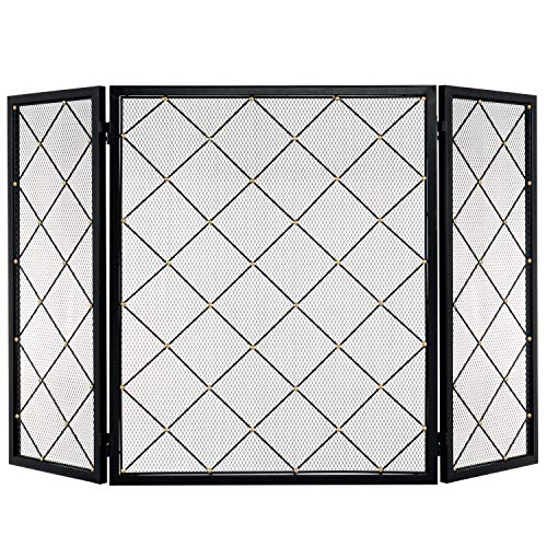 MyGift Large 3-Panel Diamond Pattern Fireplace Screen with Brass-Tone Studs/Black Metal Mesh Spark Guard