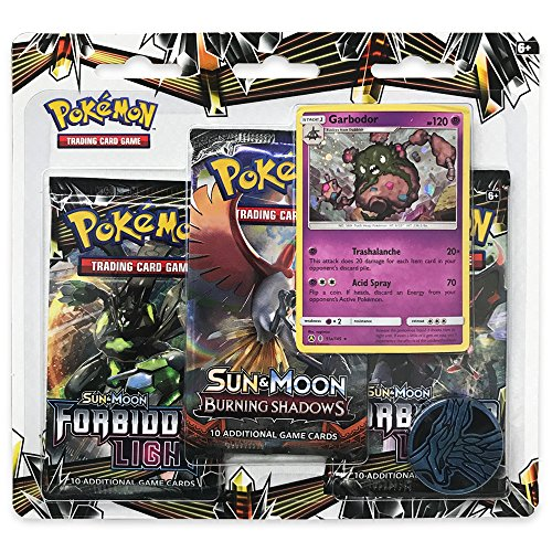 Pearl Promo Card Foil (Pokemon TCG: Forbidden Light - Garbodor & Booster Packs | Includes 3 Random Sun & Moon Forbidden Light Blister Packs, 1 Coin & 1 Foil Garbodor Card | Total of 31 Authentic Branded Pokemon Cards)