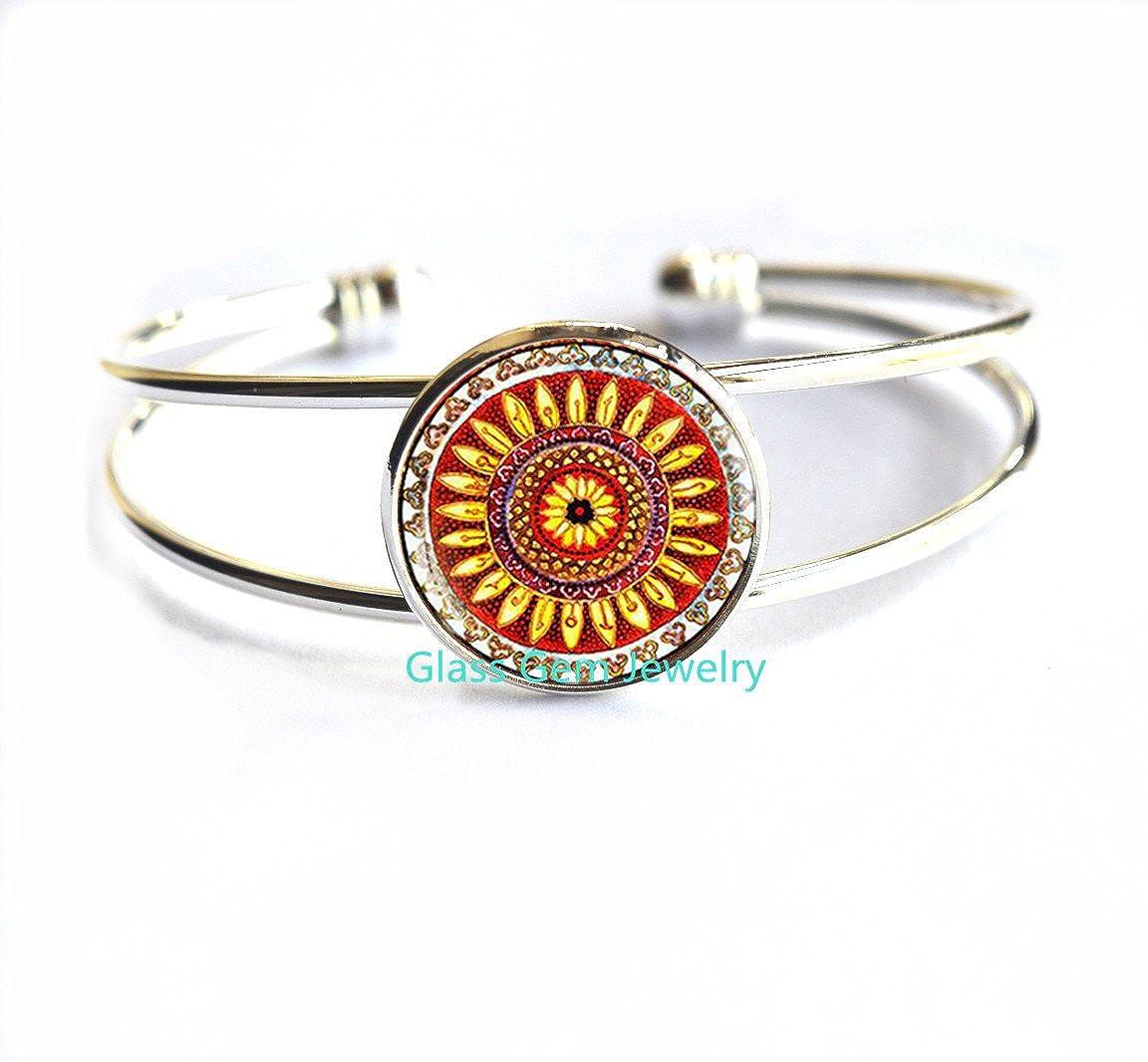 boho jewelry ethnic jewelry shou ethnic Bracelets red brown yellow Locket Keychain,Q0105 folk art Bracelets Indian mandala jewelry