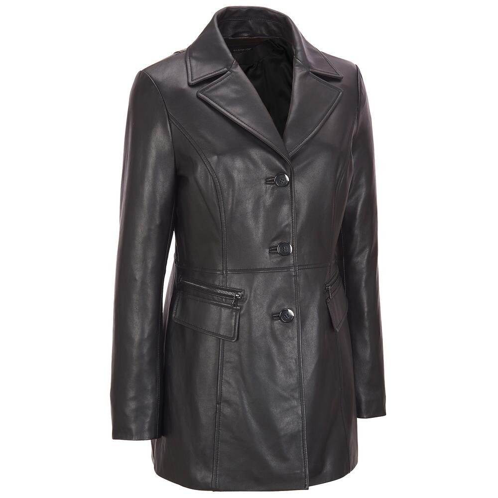 Wilsons Leather Womens Plus Size Button Front Leather Jacket W/ Zipper Detail Po