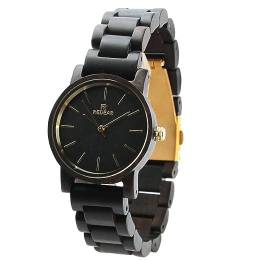 TYF para hombre madera reloj 3 ATM impermeable bambú relojes Vintage inusual reloj simple vestido reloj de pulsera para hombres: Amazon.es: Relojes