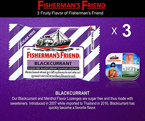 Asthma Cough Suppressant (Fisherman's Friend Lozenges 3 Blackcurrant Flavor (With 1 Collectibles Tin boxes) Fruity Taste with Fresh breath and Extra Strong Cough Suppressant Lozenges)