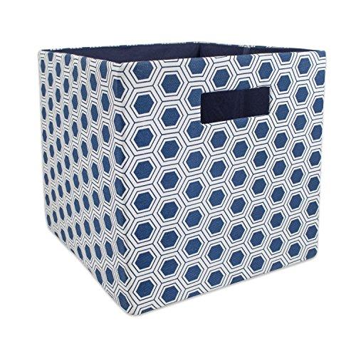DII Hard Sided Collapsible Fabric Storage Container for Nursery, Offices, & Home Organization, (11x11x11) - Honeycomb Nautical Blue