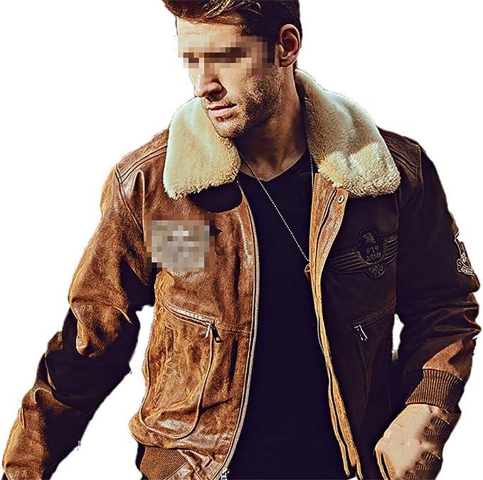 リムーバブルの毛皮の襟の本革豚の皮のジャケット冬の暖かいコートが付いている男性の本物の革の爆撃機のジャケット