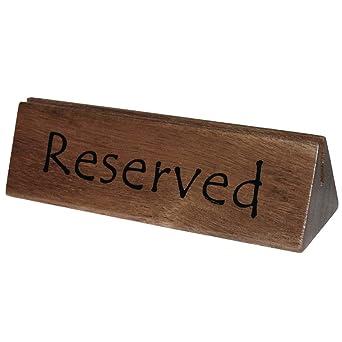 Carteles de reservado con hueco para menú, de madera, 10 unidades