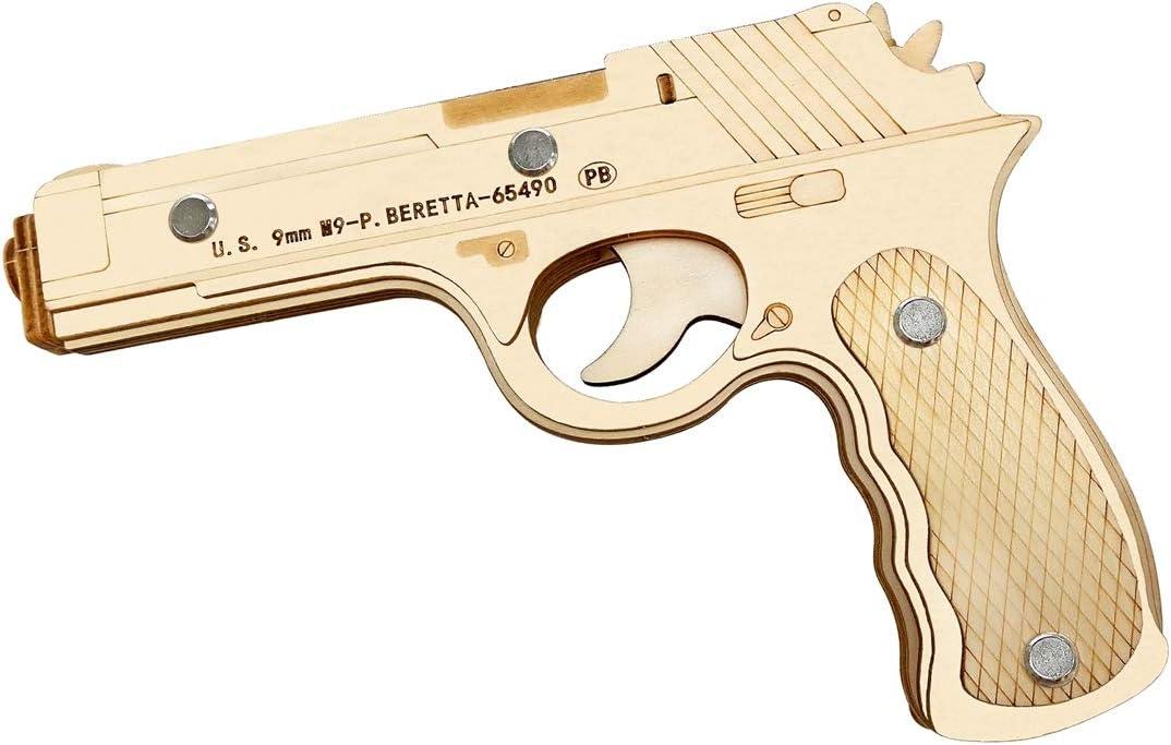 AHWZ 3D Puzzle DIY Madera Rompecabezas Educativo Juguete Beretta M9 Semi-Auto Goma Banda Pistola