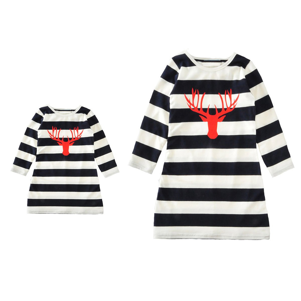 Family Matching Mother and Daughter Parent-Child Long Sleeve Elk Stripe Dress