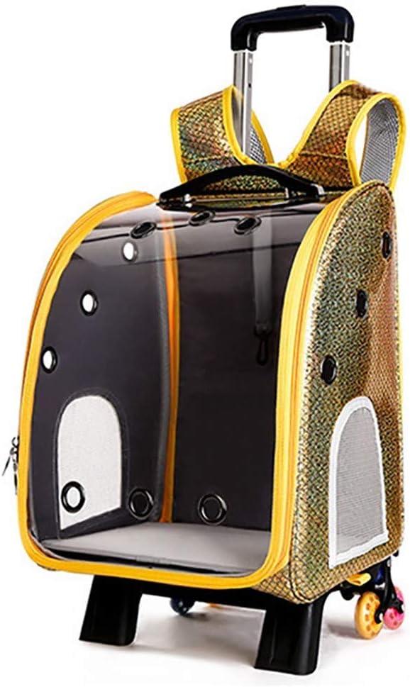 PET HOUND Transportín para Perros y Gatos con Ruedas extraíbles Funda para Maletas de Viaje Trolley Maleta Bolso Transparente para Mascota/Gato 33x27x42cm