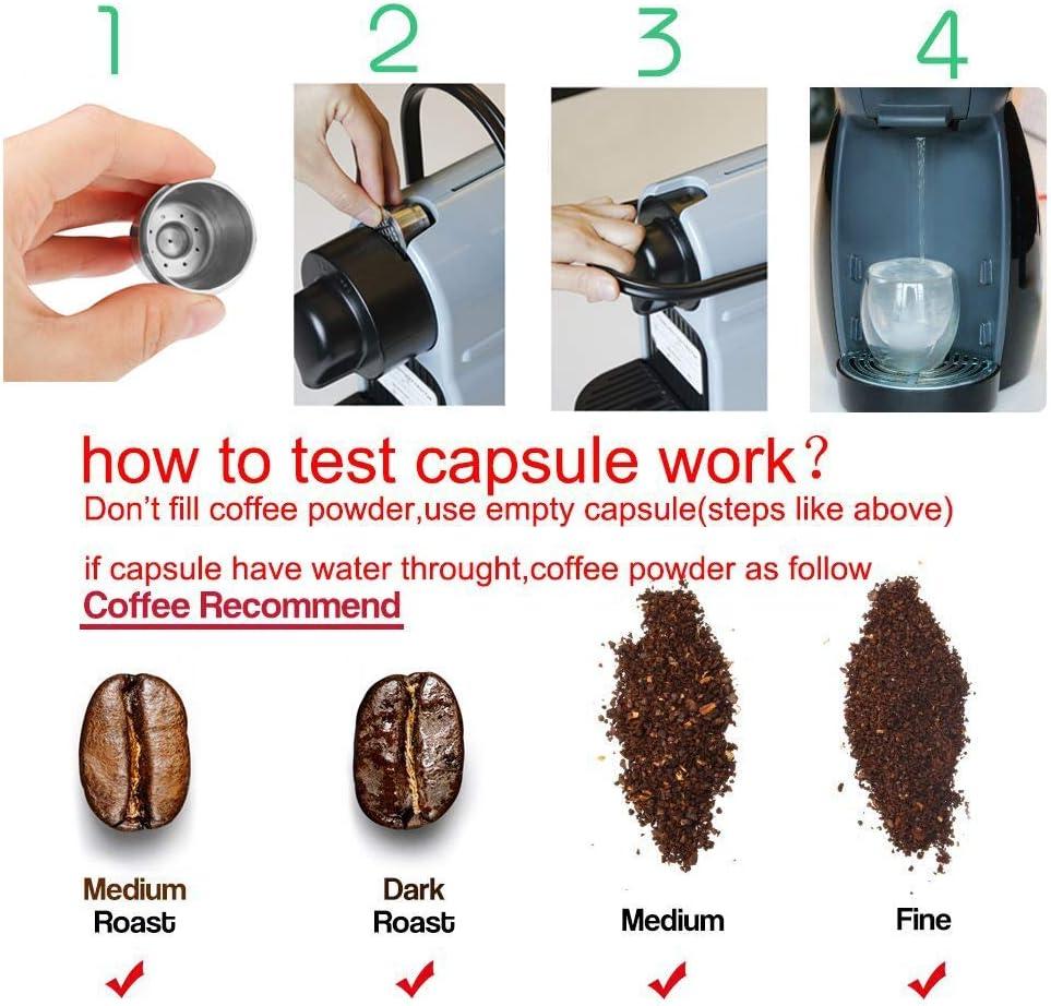 1 Reinigungsb/ürste Metall nachf/üllbare Kaffeekapsel f/ür Nesspresso-Maschine 2 St/ück i Cafilas wiederverwendbare nachf/üllbare Kaffeekapseln inklusive 1 L/öffel Edelstahl 1 Kaffee-Tamper