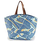 Mud Pie Women's Fashion Resort Wear Seven Seas Tote Bag (Blue Waves)