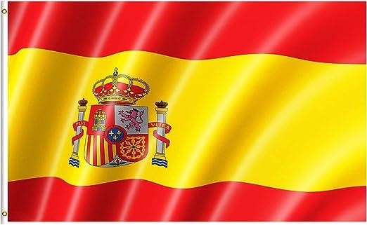 Lixure Bandera de España 5x8FT (150x240cm) 100% Poliéster Bandera Republicana Española de Color Vivo y Doble Costura Bandera Resistente a Rayos UVA con Ojales de Latón para Exteriores: Amazon.es: Jardín