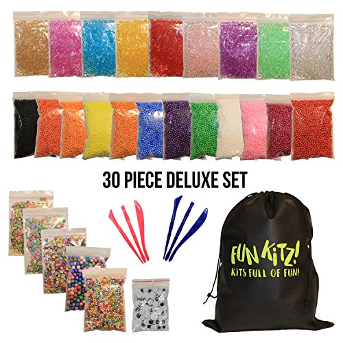 Slime Beads Kit: Foam, Colorful, With Fishbowl Beads, DELUXE Set, Comes With 2 Packs of Tools, Reusable Bag, Eyes, Fruit Slices, Hearts, Flowers, For Floam, Crunchy Slime Making and Arts and Crafts!