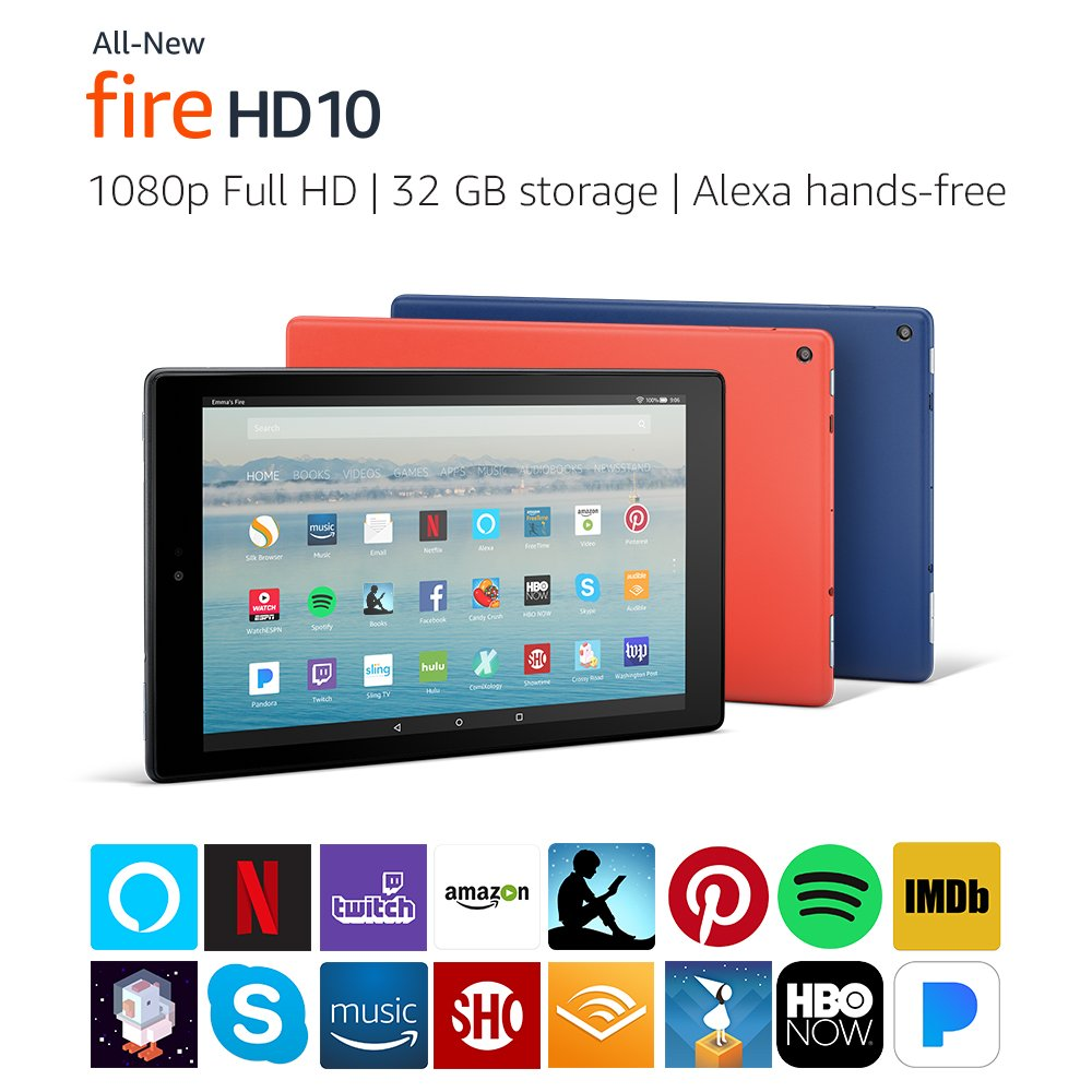 "All-New Fire HD 10 Tablet with Alexa Hands-Free, 10.1"" 1080p Full HD Display, 32 GB"