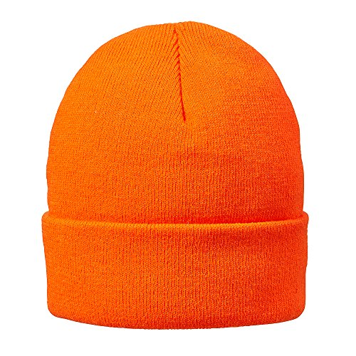 HOT SHOT Men's Acrylic Cuff Cap Thinsulate Knit Hat, Blaze Orange, One ()