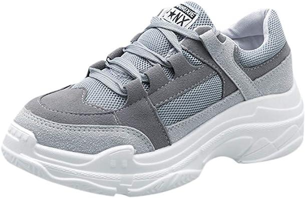 Zapatillas de deporte para mujer, gruesas, con dedos redondeados y largos, para exterior, para senderismo, informal, para caminar por la ciudad: Amazon.es: Zapatos y complementos