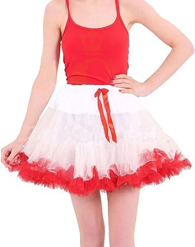 Islander Fashions Mujeres Blanco y Rojo Navidad Tutu Skirt Ladies ...