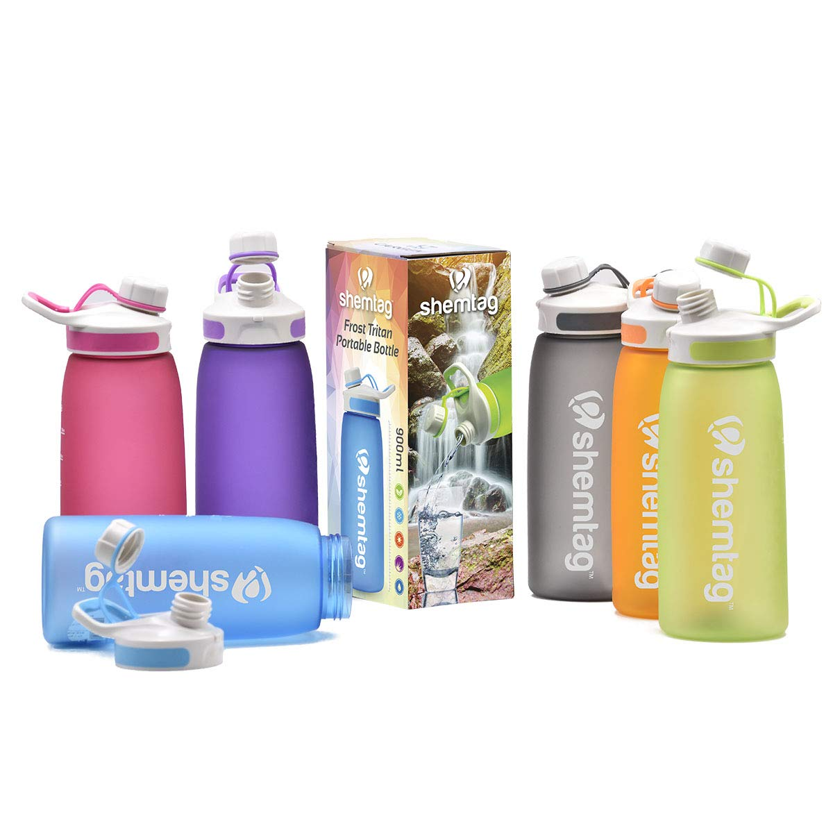 Shemtag Color Water Bottle-Tritan Water Bottle 30oz 900ml Wth Screw Cap BPA-Free for Sports & Camping