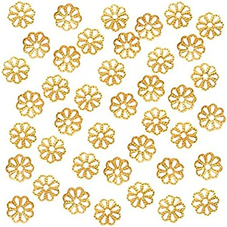 50pcs Top Quality Pretty Filigree Flower 6mm Bead Caps Gold Plated Brass for Jewelry Craft Making CF174-6