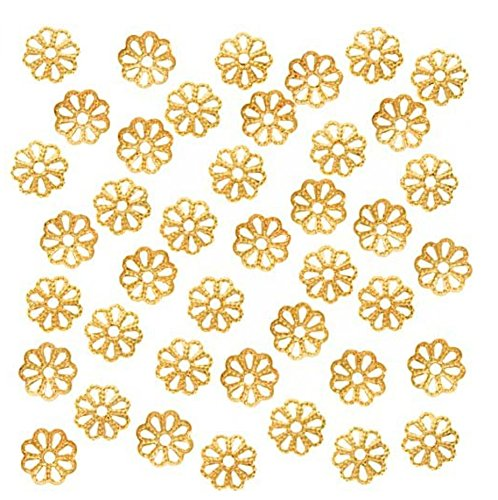 retty Filigree Flower 8mm Bead Caps 14k Gold Plated for Jewelry Making CF174-8 ()