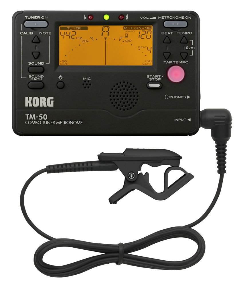 Korg TM50BK Tuner and Metronome Combo with Clip on Microphone (Black)
