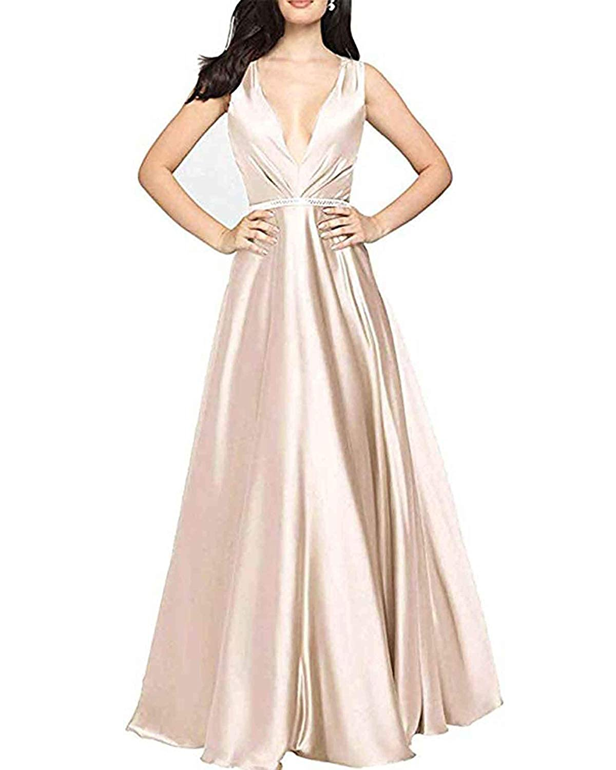 Champagne WHLWHL ALine VNeck Long Party Prom Gown for Women Formal Evening Dress with Pockets