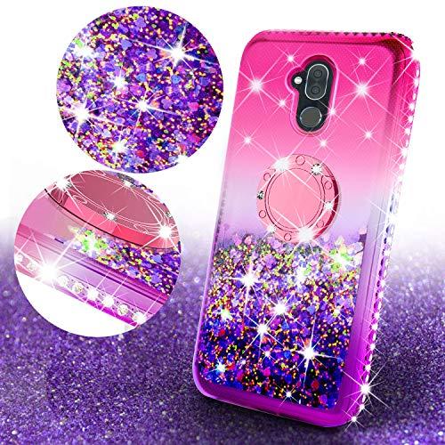 Alcatel 7 / Revvl Plus 2 Case,Liquid Glitter Cute Phone Case Girls Kickstand,Bling Diamond Rhinestone Bumper Ring Stand Sparkly Clear Soft Protective for Girl Women (Hot - Phones Cheap From Pcs Metro