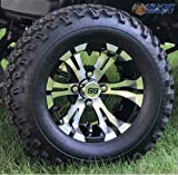 12'' VAMPIRE Machined/Black Golf Cart Wheels and 23'' All Terrain Tires - Set of 4