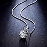 Fashion Women Crystal Rhinestone Silver Chain Pendant Bib Necklace Jewelry 20#by pimchanok shop (Silver)