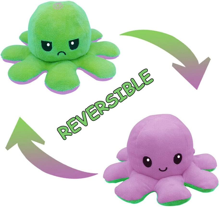 Cute Octopus Doll Double-Sided Flip Octopus Plush Toy,Soft Reversible Octopus Stuffed Animals Doll,Colorful Creative Toy Gifts for Kids Family Friends 1Pcs,Black+Blue