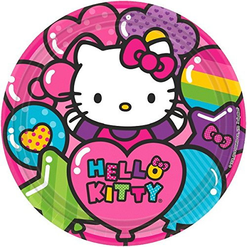 "Adorable Hello Kitty Rainbow Round Paper Plates Birthday Party Disposable Tableware (8 Pack), Pink, 9""."