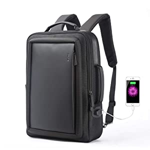 Bopai Anti Theft Backpack 15.6 inch Laptop Business Slim College Shoulder Rucksack Water-Resistant Synthetic Leather Backpack for Men, Black