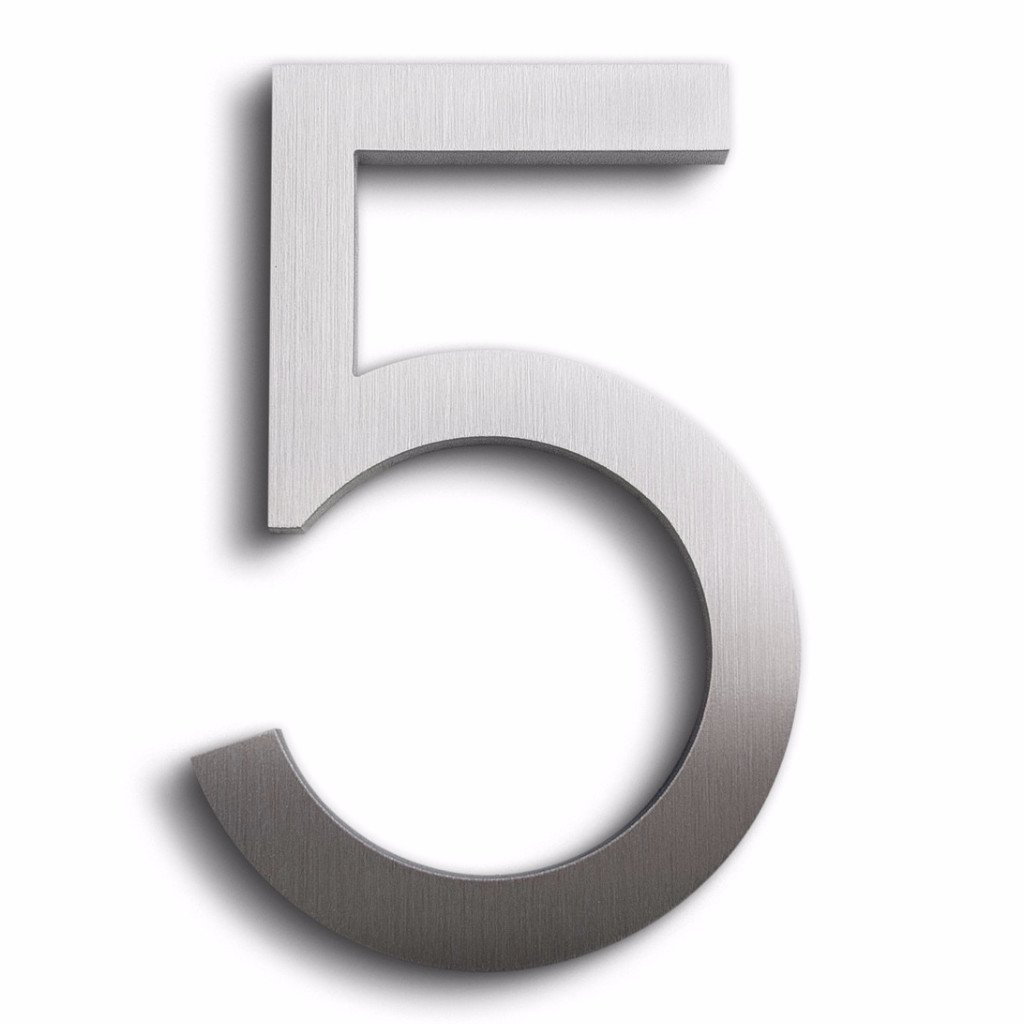 Modern House Number Aluminum Modern Font Number Five ''5'' 6 inch
