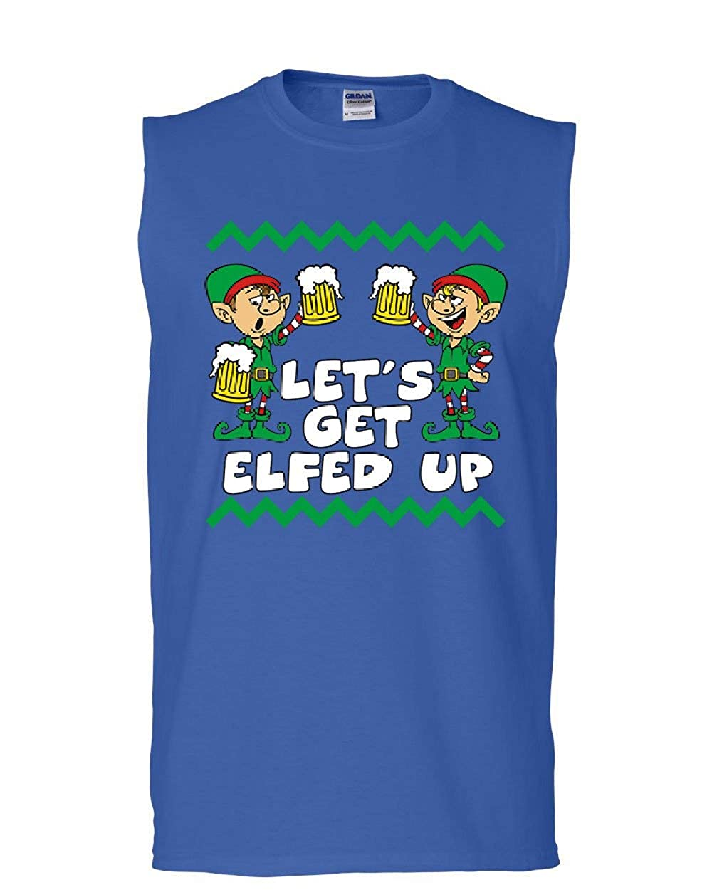 Tee Hunt Lets Get Elfed Up Muscle Shirt Drinking Beer Christmas Xmas Elf Ugly Sleeveless