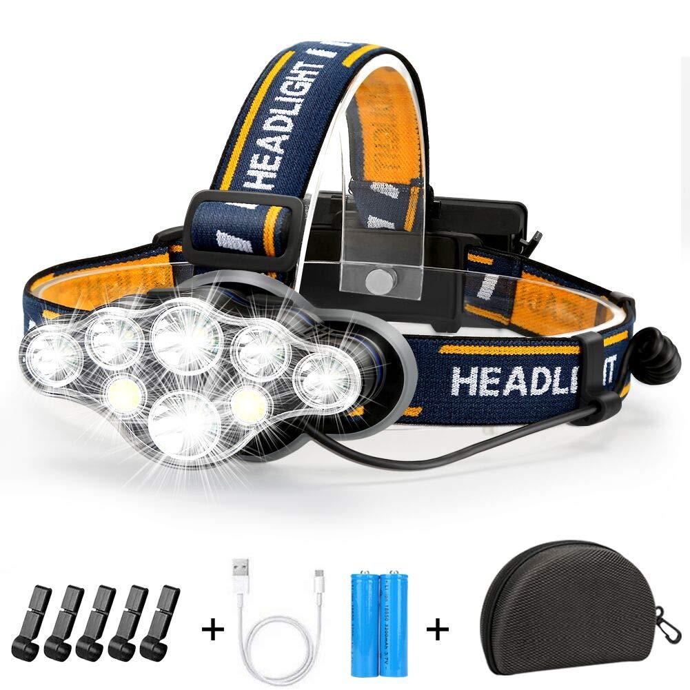 USB Stirnlampe COB 8 LED Taschenlampe Kopflampe Headlight 2x Akku Wasserdicht